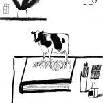 """Ещё картинка с коровой и фразой """"Жизнь – шнурок"""", которую я постоянно теперь цитирую (спасибо автору книги)."""